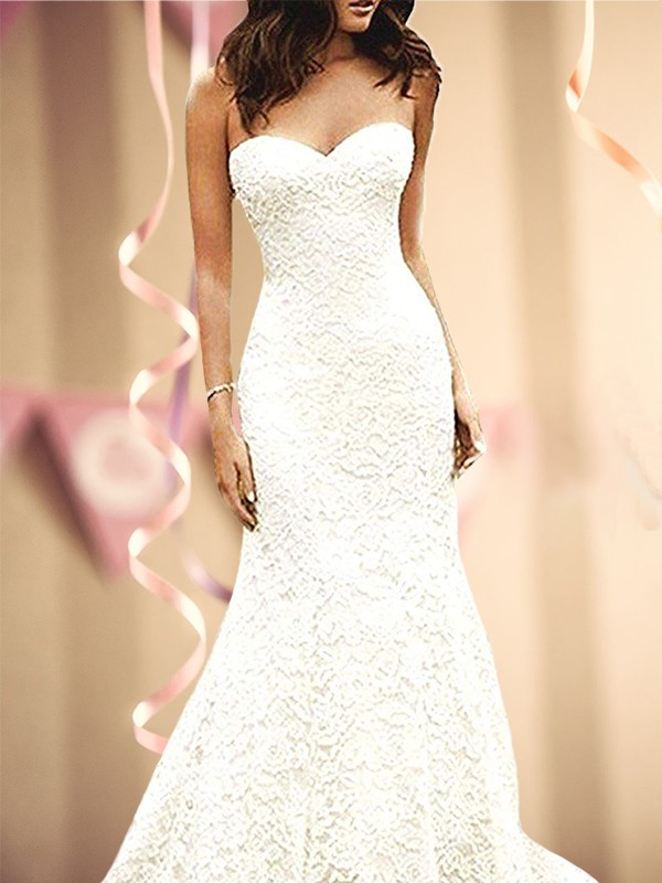 Mermaid Sleeveless Sweetheart Sweep/Brush Train lace Wedding Dresses