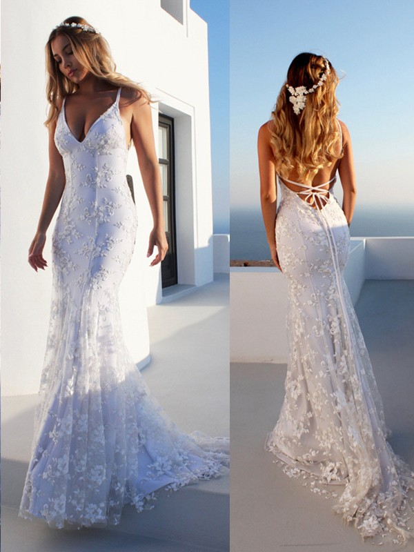 Mermaid Spaghetti Straps Sleeveless Lace Court Train Tulle Wedding Dresses