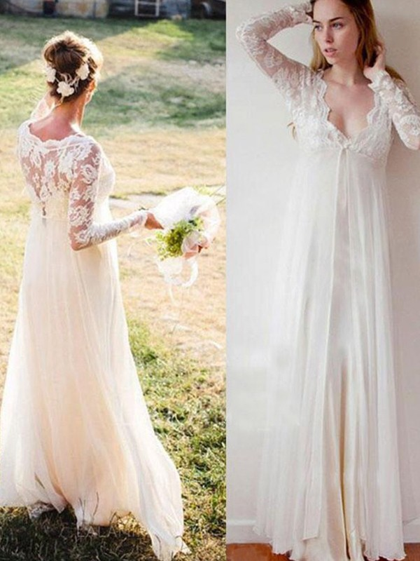 Empire V-neck Lace long Sleeves Floor-Length Chiffon Wedding Dresses