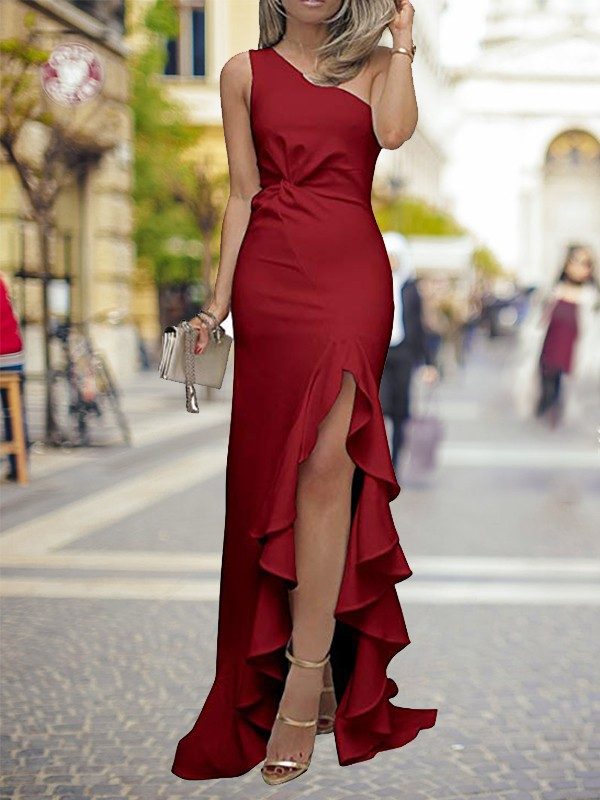 Sheath One-Shoulder Sweep/Brush Train With Ruffles Silk like Satin Dresses