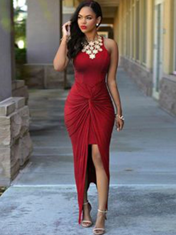 Sheath Sleeveless Jewel Ankle-Length Spandex With Beading Asymmetrical Dresses