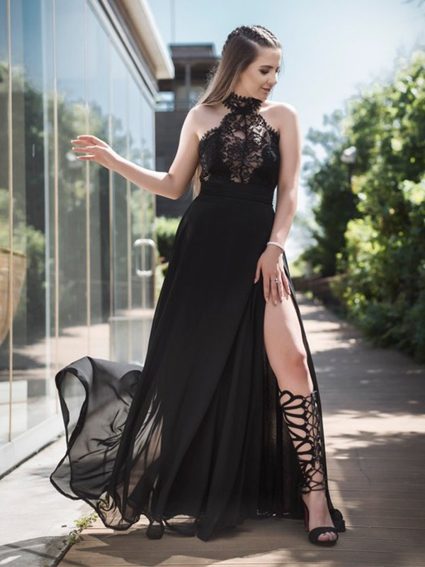 A-Line Sleeveless Halter Floor-Length Lace Chiffon Dresses