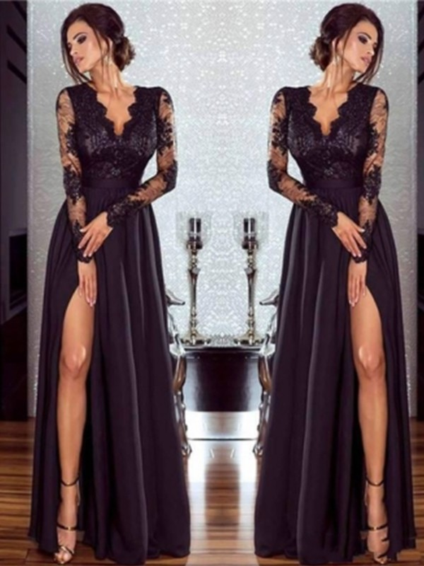 A-Line Long Sleeves V-neck Floor-Length Lace Chiffon With Applique Dresses