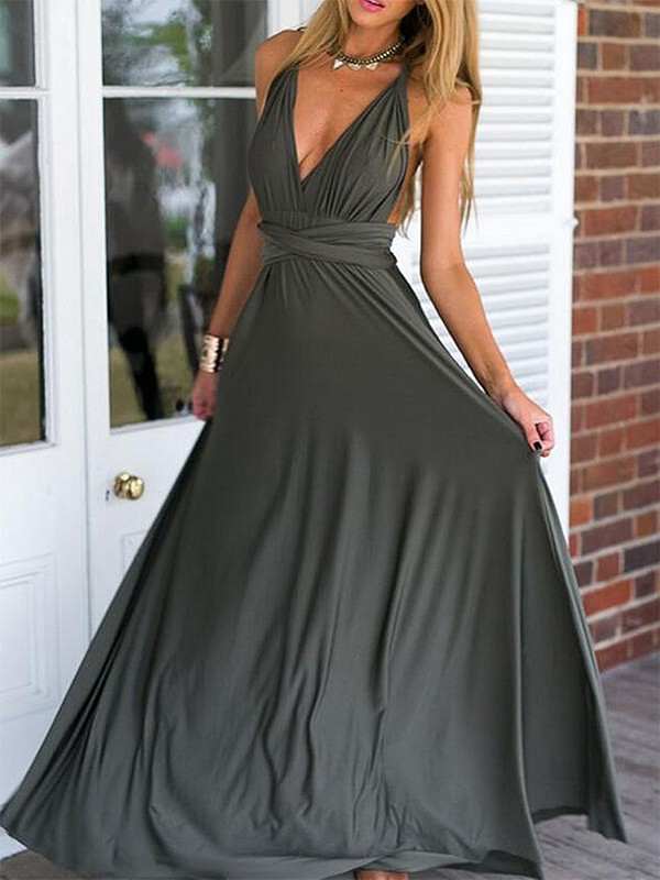 Empire Sleeveless V-neck Floor-Length With Ruched Spandex Dresses