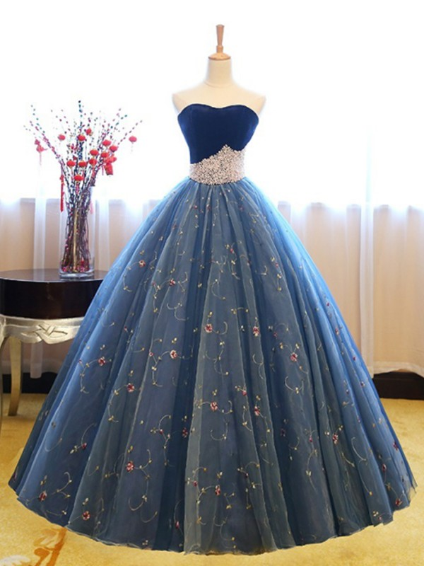 Ball Gown Sleeveless Sweetheart Floor-Length With Beading Net Dresses