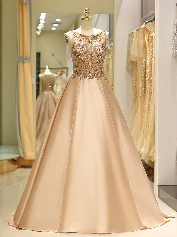 Ball Gown Sleeveless Bateau Sweep/Brush Train With Beading Satin Dresses