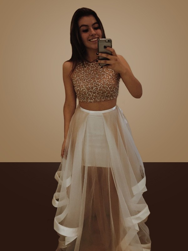 A-Line Sleeveless Halter Floor-Length With Beading Organza Two Piece Dresses