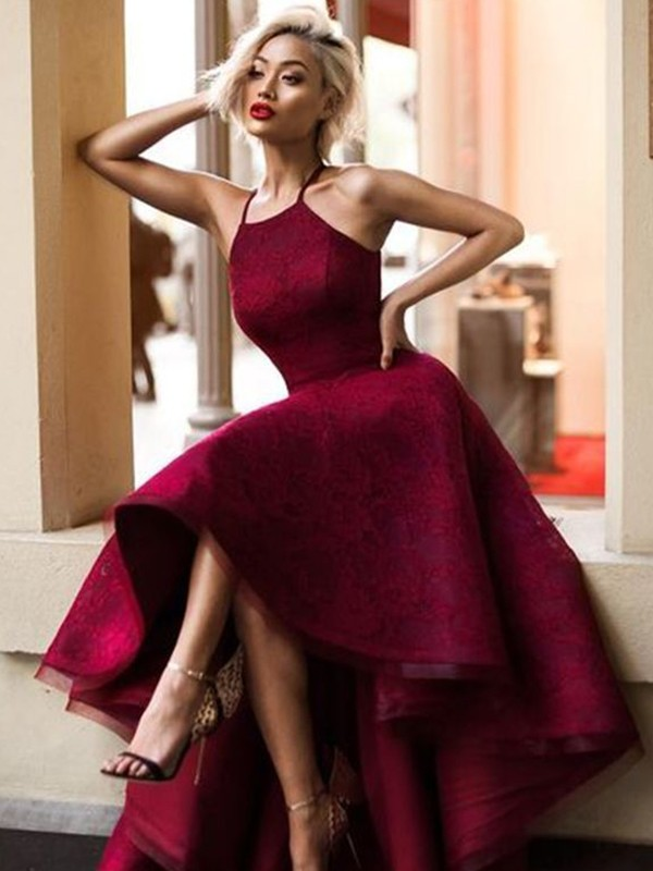 A-Line Sleeveless Jewel Asymmetrical With Ruffles Lace Dresses