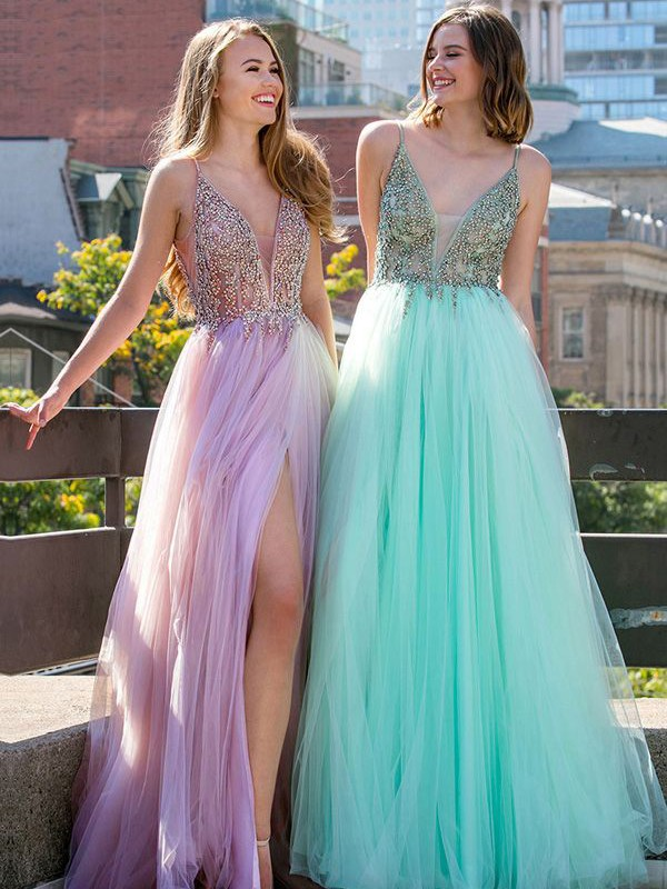 A-Line Sleeveless V-neck Floor-Length With Beading Tulle Dresses