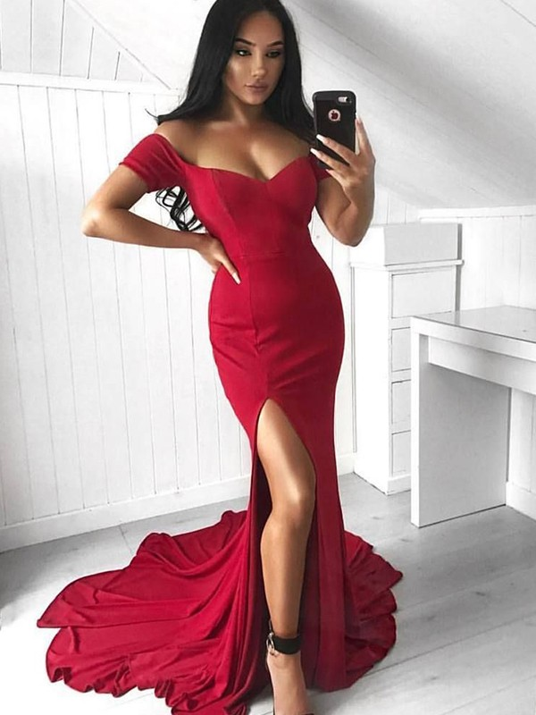 Mermaid Sleeveless Off-the-Shoulder Court Train With Ruffles Spandex Dresses