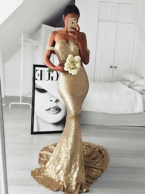 Mermaid Sleeveless Off-the-Shoulder Sweep/Brush Train With Ruffles Sequins Dresses