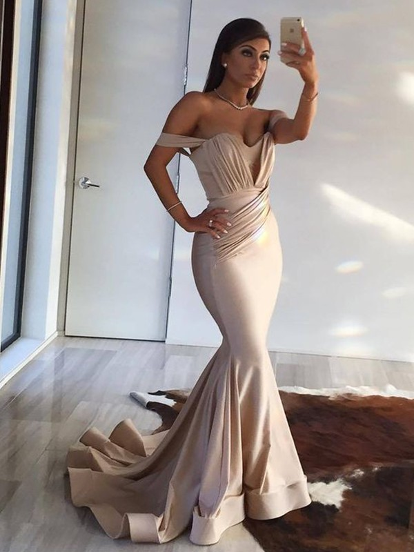 Mermaid Sleeveless Off-the-Shoulder Sweep/Brush Train With Ruffles Spandex Dresses