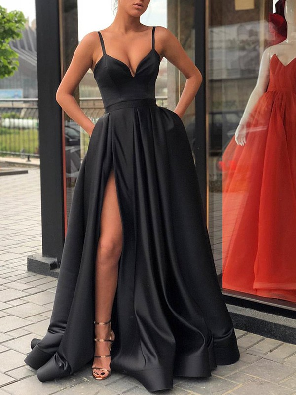 A-Line Sleeveless Straps Sweep/Brush Train With Ruffles Satin Dresses