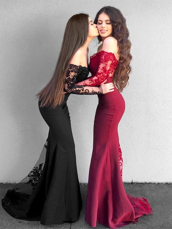 Mermaid Long Sleeves Off-the-Shoulder Sweep/Brush Train With Applique Stretch Crepe Dresses