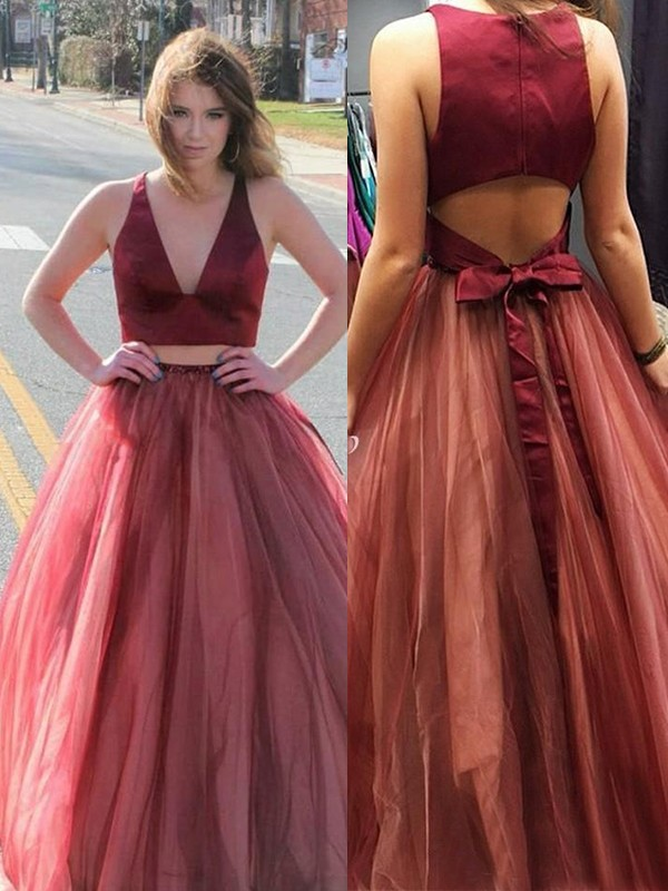 A-Line Sleeveless V-neck Sweep/Brush Train With Ruffles Tulle Two piece Dresses