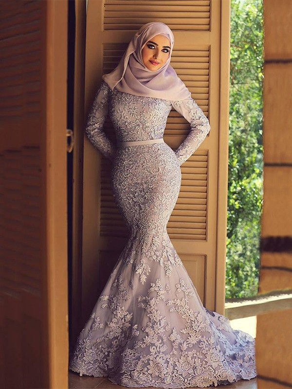 Mermaid Long Sleeves Scoop Sweep/Brush Train With Ruffles Lace Muslim Dresses