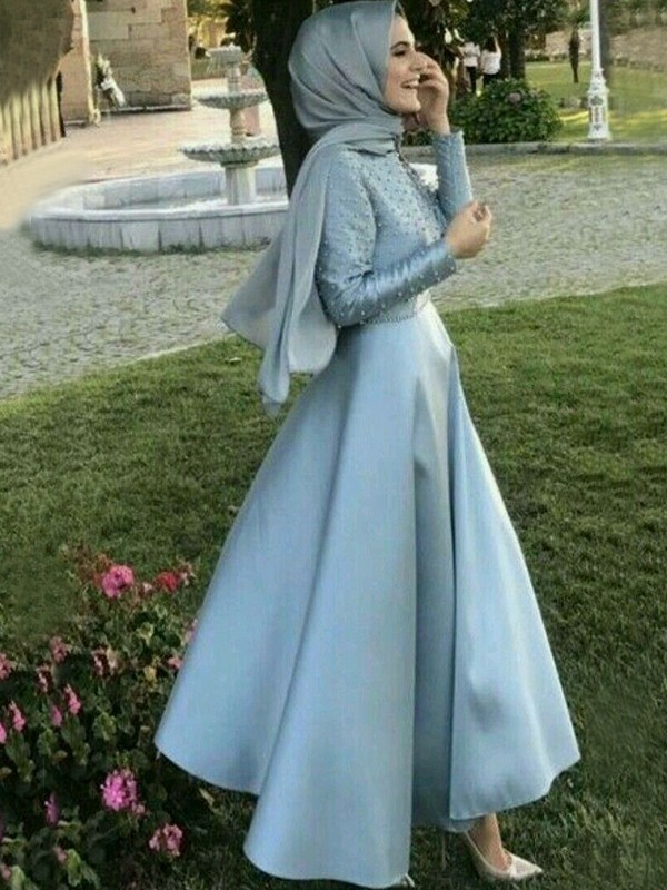 A-Line Long Sleeves Scoop Floor-Length With Beading Satin Muslim Dresses