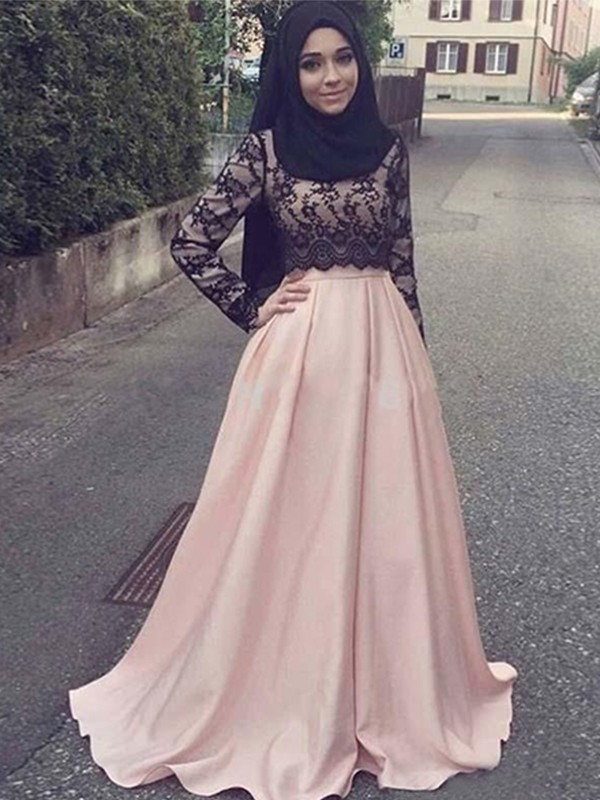 A-Line Long Sleeves Scoop Sweep/Brush Train With Applique Satin Muslim Dresses