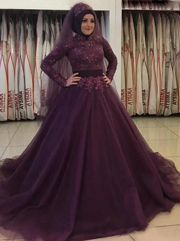Ball Gown Long Sleeves High Neck Sweep/Brush Train With Applique Tulle Muslim Dresses