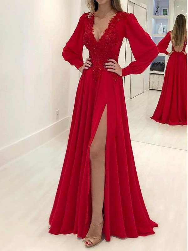 A-Line Long Sleeves V-neck Sweep/Brush Train With Applique Chiffon Dresses