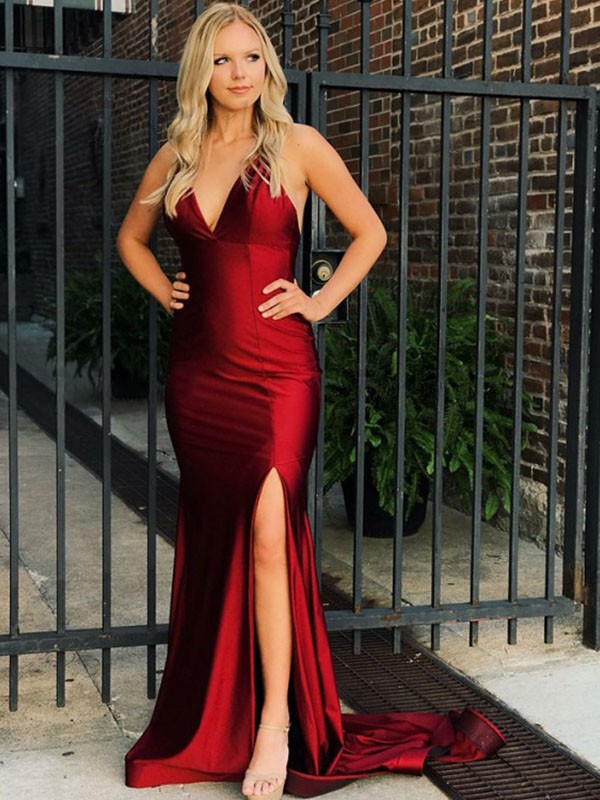 Mermaid Sleeveless V-neck Sweep/Brush Train With Ruffles Satin Dresses