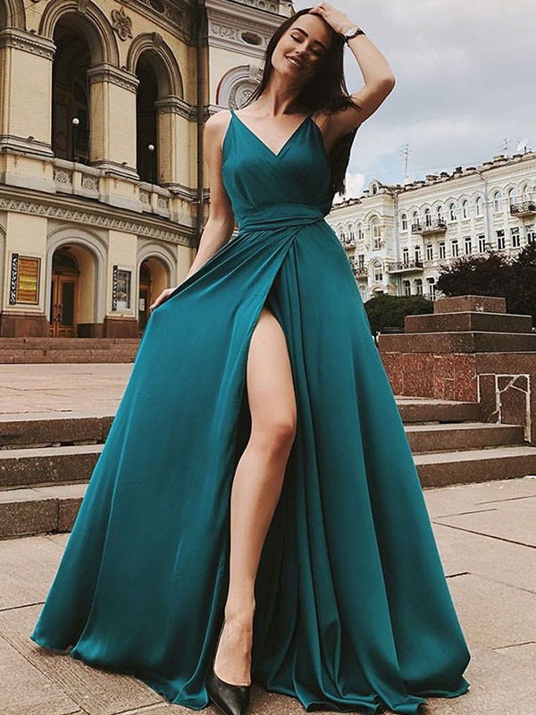 A-Line Sleeveless Straps Sweep/Brush Train With Ruffles Satin Chiffon Dresses