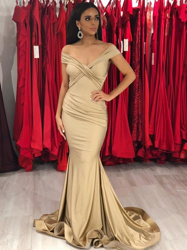 Mermaid Sleeveless Off-the-Shoulder Long Train With Ruffles Spandex Dresses