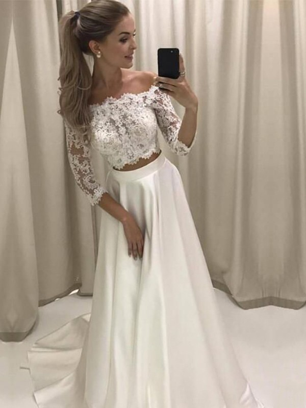 A-Line Off-the-Shoulder 3/4 Sleeves Sweep/Brush Train Lace Satin Wedding Dresses