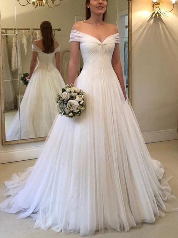 A-Line Off-the-Shoulder Sleeveless Sweep/Brush Train With Ruched Tulle Wedding Dresses