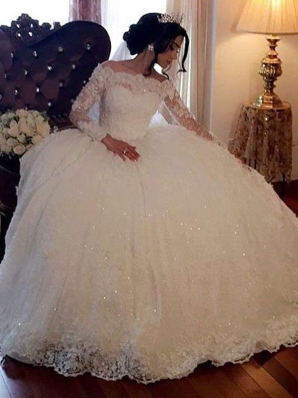 Ball Gown Bateau Long Sleeves Floor-Length Lace Lace Wedding Dresses