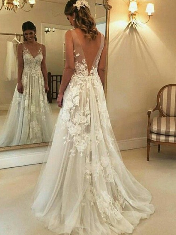 A-Line V-neck Sleeveless Sweep/Brush Train With Applique Tulle Wedding Dresses