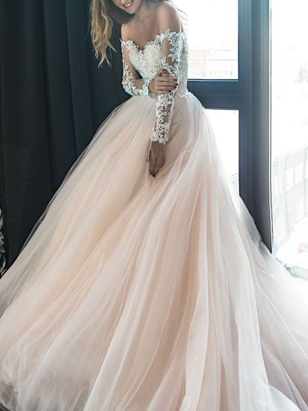 A-Line Off-the-Shoulder Long Sleeves Court Train With Applique Tulle Wedding Dresses