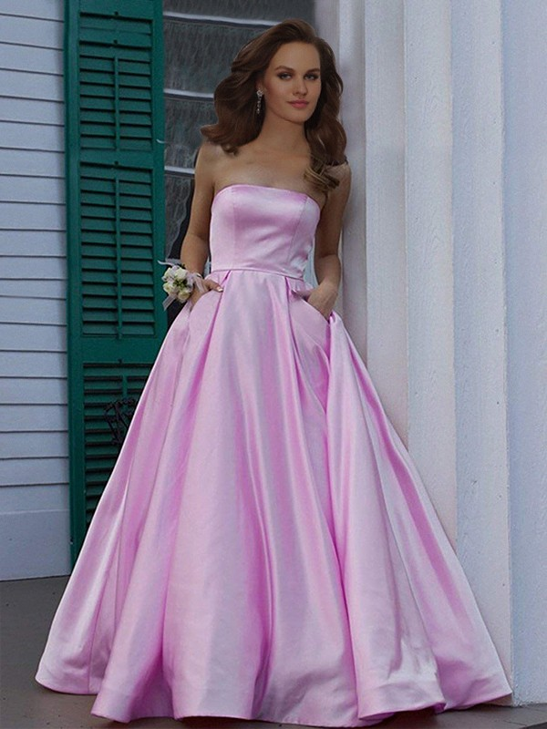 A-Line Strapless Sleeveless Floor-Length With Ruffles Satin Dresses