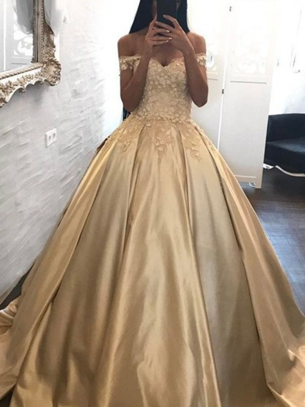 Ball Gown Off-the-Shoulder Sleeveless Sweep/Brush Train With Applique Satin Dresses