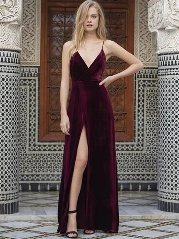 A-Line Spaghetti Straps Sleeveless Floor-Length With Ruffles Velvet Dresses