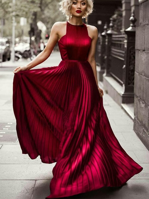 A-Line Halter Sleeveless Floor-Length With Ruched Silk like Satin Dresses