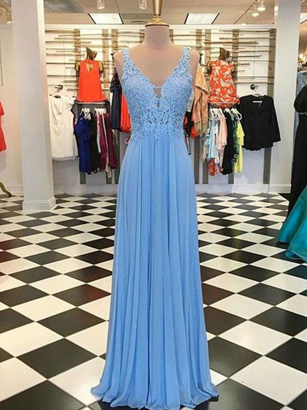 A-Line Spaghetti Straps Sleeveless Floor-Length With Applique Chiffon Dresses