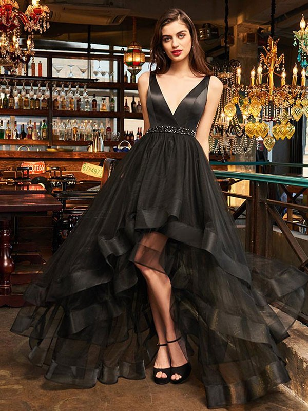 A-Line Sleeveless V-neck Asymmetrical With Ruffles Organza Dresses