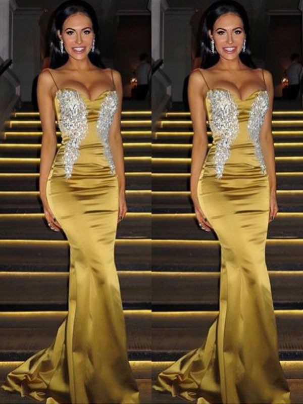 Mermaid Sleeveless Spaghetti Straps Sweep/Brush Train With Beading Satin Dresses