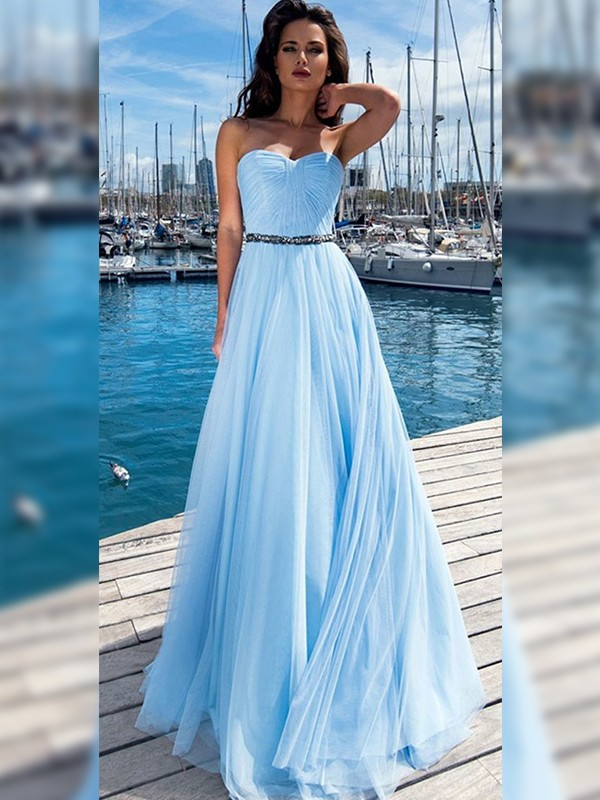 A-Line Chiffon With Ruffles Sweetheart Sleeveless Floor-Length Dresses