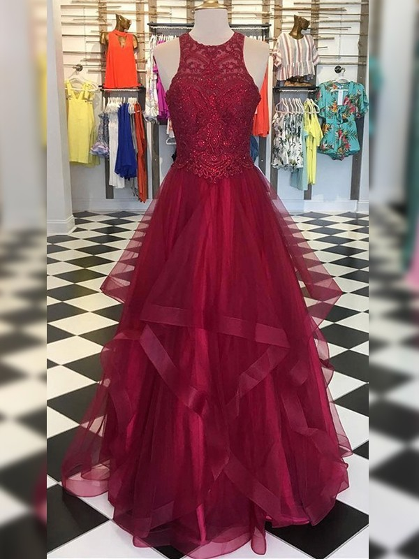 A-Line Organza With Beading Scoop Sleeveless Floor-Length Dresses