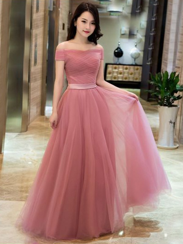 A-Line Tulle With Ruffles Off-the-Shoulder Sleeveless Floor-Length Dresses