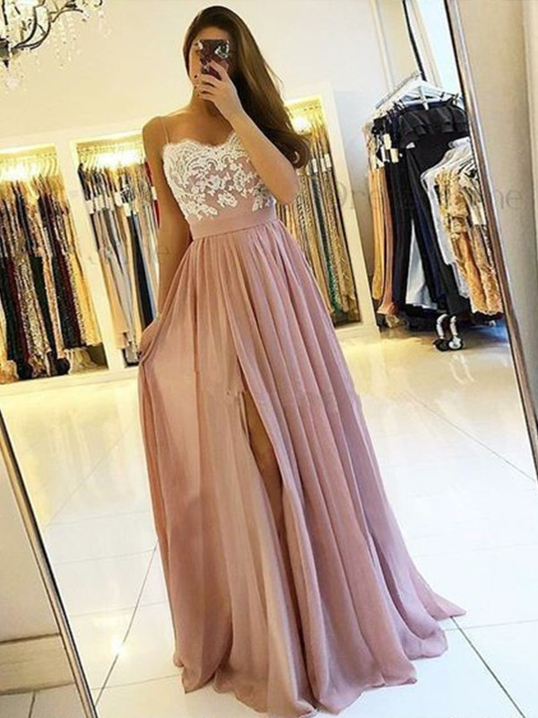 A-Line Sleeveless Spaghetti Straps Floor-Length With Applique Chiffon Dresses