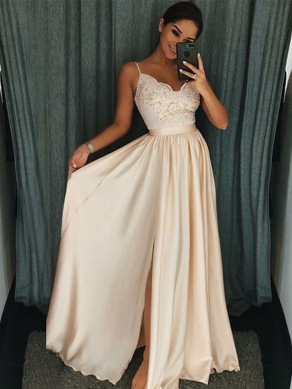 A-Line Sleeveless Spaghetti Straps Floor-Length With Applique Silk like Satin Dresses