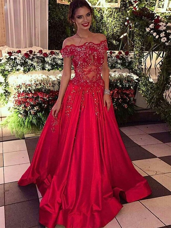 Ball Gown Off-the-Shoulder Sleeveless Sweep/Brush Train With Beading Satin Dresses