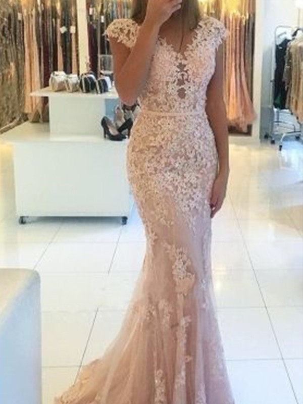 Mermaid Sleeveless V-neck Sweep/Brush Train With Applique Lace Dresses