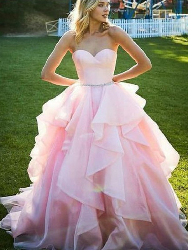 Ball Gown Sleeveless Sweetheart Floor-Length With Beading Organza Dresses