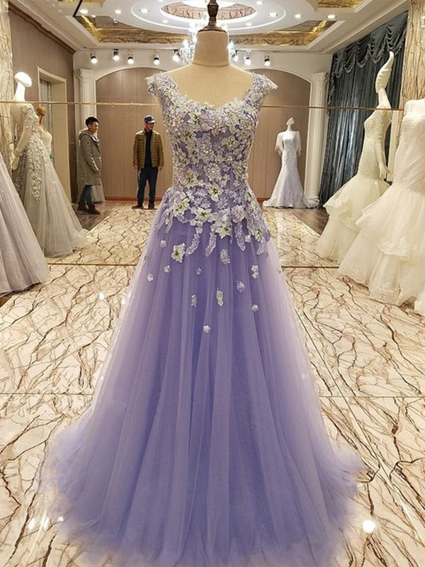 A-Line Sleeveless Scoop Floor-Length With Applique Tulle Dresses