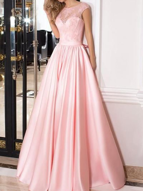 A-Line Sleeveless Sheer Neck Floor-Length Lace Satin Dresses
