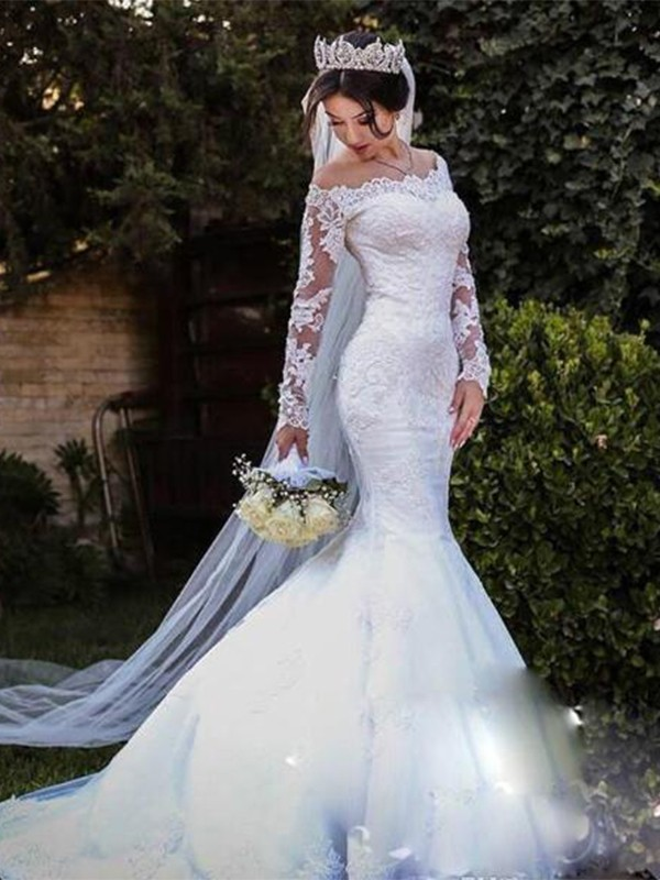 Mermaid Tulle Lace Off-the-Shoulder Long Sleeves Sweep/Brush Train Wedding Dresses